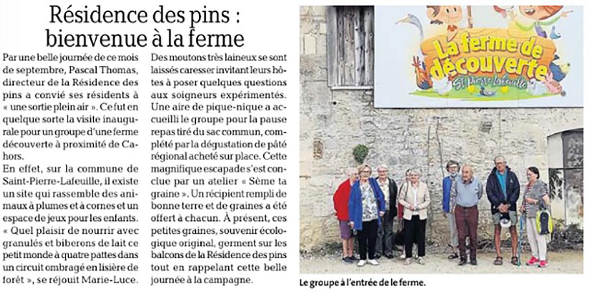 Article Visite Seniors residence les Pins